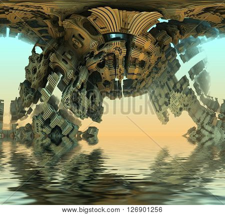Render virtual architecture scenery against the blue reflected in water