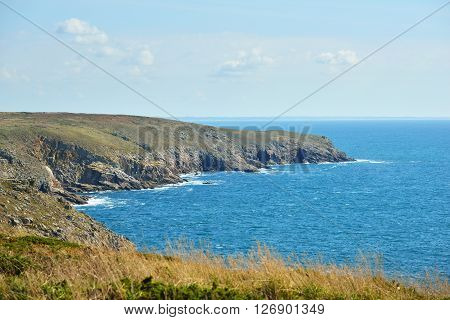 Ocean Coastline With Rocks At Pointe Du Raz In Brittany, France