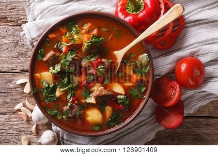 Traditional Hungarian Goulash Soup Bogracs Close-up In A Bowl. Horizontal Top View