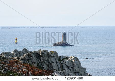 La Vieille Lighthouse In Atlantic Ocean By The Coast Of Brittany, France
