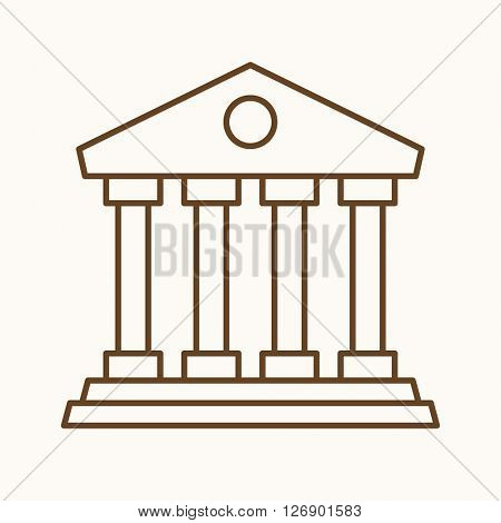 Bank icon, vector web sign in thin lines. Banking icon flat. Design mortgage icon, vector pictogram.