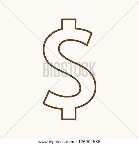 Money icon, vector web sign in thin lines. Dollar icon flat. Design banking icon, vector pictogram.
