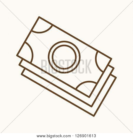 Money icon, vector web sign in thin lines. Cash icon flat. Design banking icon, vector pictogram.