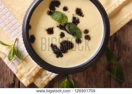 Turkish Yayla Soup With Rice, Mint And Yoghurt Close-up. Horizontal Top View