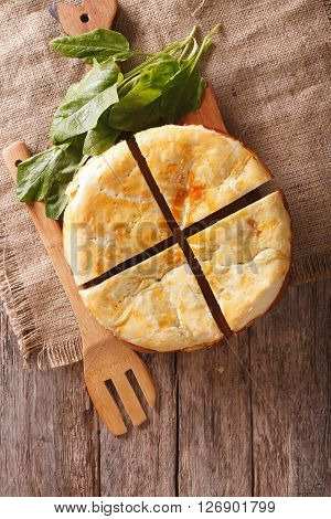 Freshly Baked Greek Pie With Spinach Vertical Top View