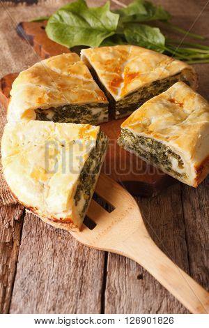 Tasty Sliced Greek Spanakopita Pie Close-up. Vertical