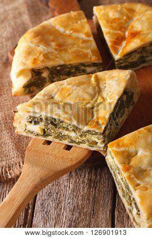 The Cut Pie Spanakopita Close-up On. Vertical