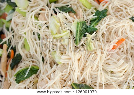Fried noodle with vegetables for vegetarian lovers (Asian cuisine)