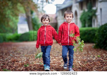 Double Portrait Of Two Children, Boy Brothers In Autumn Garden
