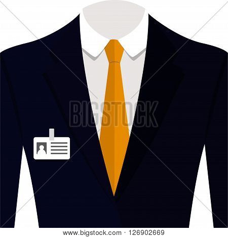 Vector illustration of blue man suit with orange tie and white shirt