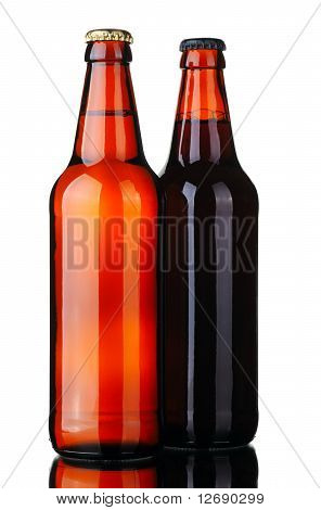 Two Bottles Of Beer And Glass