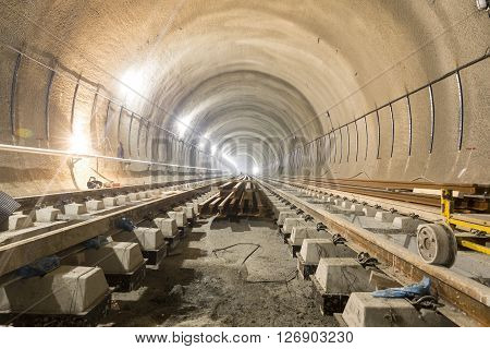 Subway Rails During Tunnel Construction Sleepers