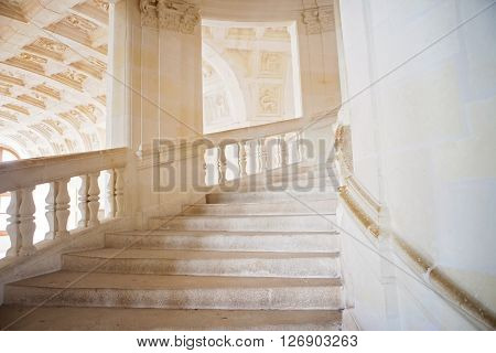Beautiful old rustic stone airy staircase daytime