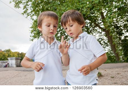 Cute Little Toddler Boys, Playing With Ladybird Outdoor In The Park
