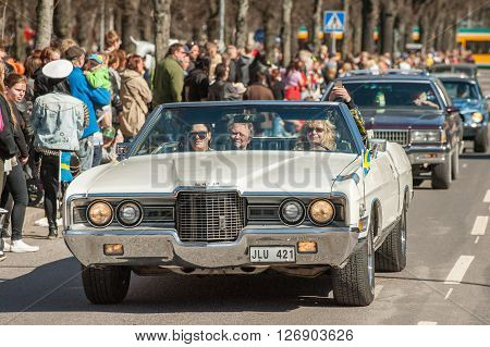 NORRKOPING, SWEDEN - MAY 1: Ford LTD 1971 at classic car parade celebrates spring on May 1, 2013 in Norrkoping, Sweden. This parade is an annual tradition in Norrkoping on May Day.