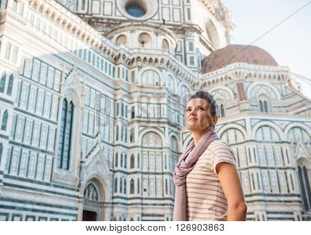 Young Woman Tourist Sightseeing In Florence, Italy