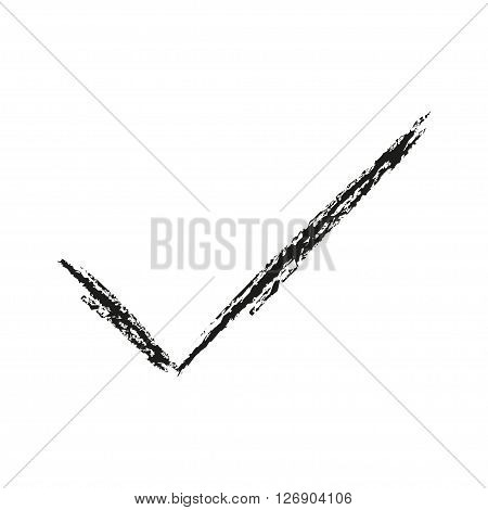 Black icon checkmark drawn with charcoal. Vector illustration