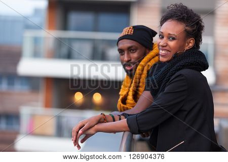 Happy African American Teenagers Outdoor Portrait