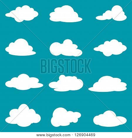 Icon set of white clouds. Collection clouds. Vector illustration