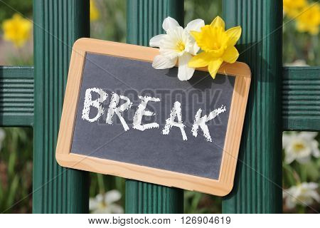 Break Rest Resting Garden With Flowers Flower Spring Sign Board