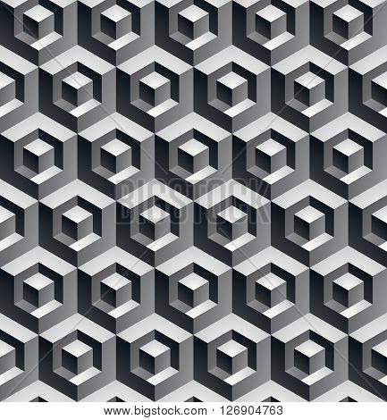 Monochrome illusive abstract geometric seamless pattern with 3d cubes. Vector stylized texture