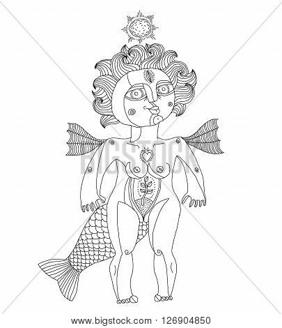 Vector illustration of bizarre creature nude woman with wings animal side of human being. Goddess conceptual hand drawn allegory image.
