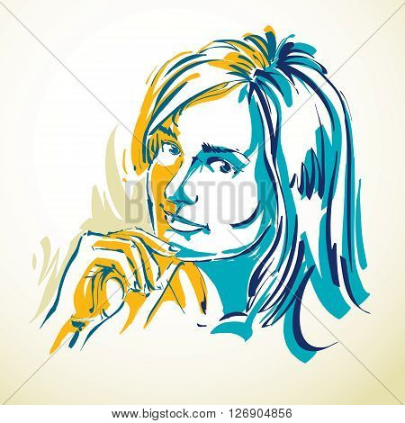 Vector art drawing portrait of romantic girl isolated on white face features. Minimal art graphic illustration.