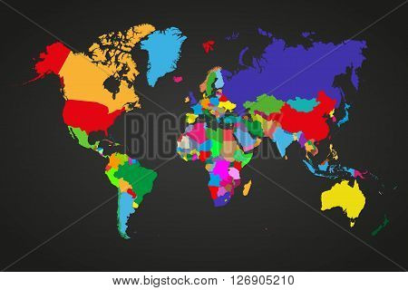Colored political world map with sovereign countries and larger dependent territories. Different colors for each countries