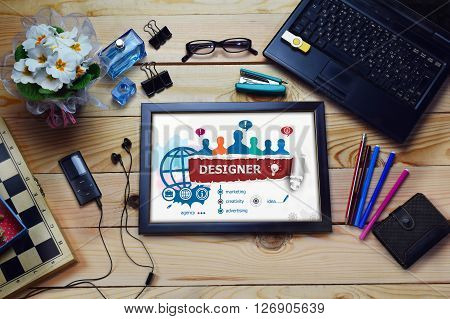 Designer Design Concept And Group Of People On Wooden Office Desk.