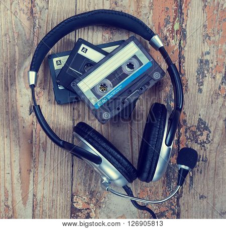 audiotapes and headphones close-up sound recording and music retro