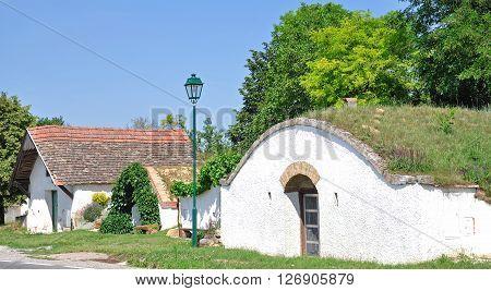 traditional Wine Cellar in Prellenkirchen near Lake Neusiedler See in Burgenland,Austria