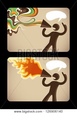 Silhouette of a man with megaphone. Vector illustration.