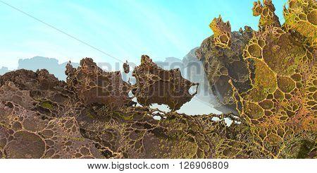 Virtual landscape scenery  in sunshine and haze