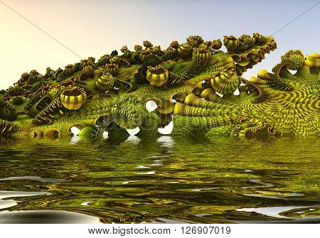 Computer rendered virtual landscape reflected in water