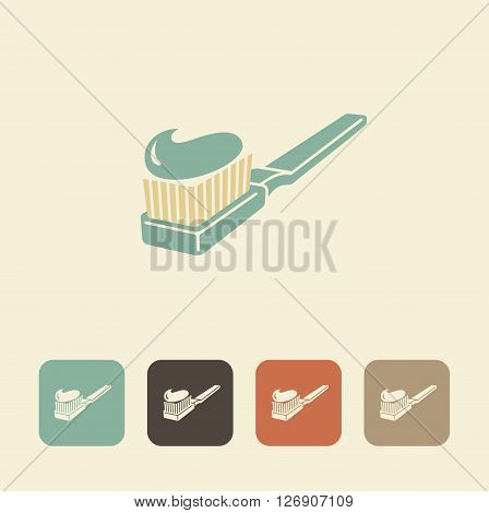 Symbols of dental care. Toothbrush and toothpaste