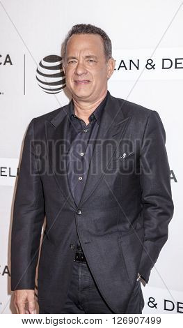 New York NY USA - April 22 2016: Tom Hanks attends Tribeca Talks Storytellers: Tom Hanks with John Oliver during the 2016 Tribeca Film Festival at John Zuccotti Theater at BMCC Tribeca Performing Arts Center NYC