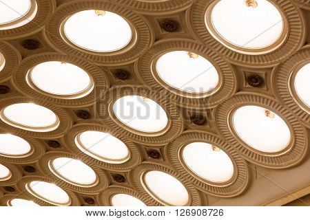 MOSCOW - MARCH 3: Closeup of the ceiling lighting caissons of the Elektrozavodskaya metro station on March 3 2016 in Moscow. It is one of the most spectacular stations of the Moscow subway.