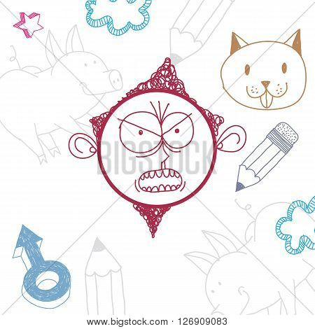 Vector colorful illustration of angry cartoon boy isolated on special background with hand drawn design elements social interaction idea. Facial expressions on teenager face.
