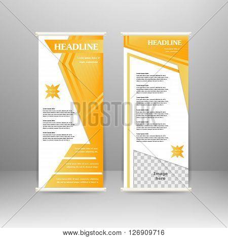 Roll up banner stand design. For advertisement poster brochure presentation business template. Vector illustration