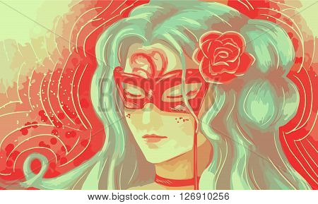 the girl at the masquerade in a mask - illustration vector