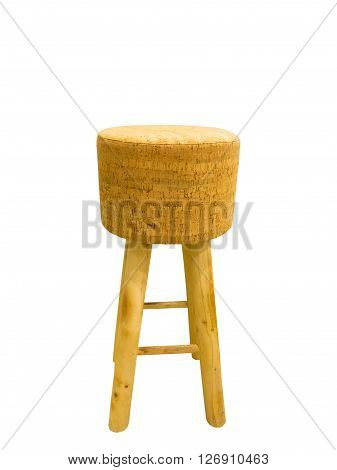 Bar padded wooden stool isolated on a white background