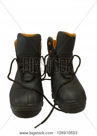 Black work boots isolated on white background