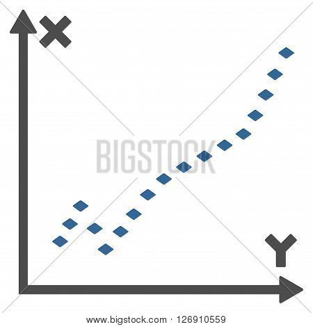 Dotted Function Plot vector toolbar icon. Style is bicolor flat icon symbol, cobalt and gray colors, white background, rhombus dots.
