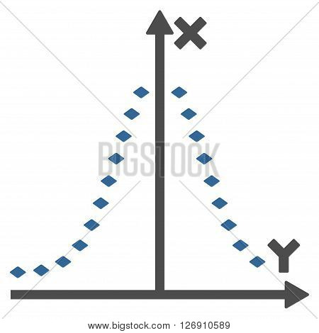 Dotted Gauss Plot vector toolbar icon. Style is bicolor flat icon symbol, cobalt and gray colors, white background, rhombus dots.
