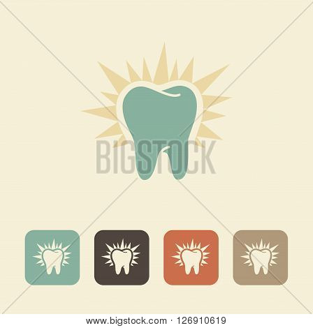 The symbol of healthy teeth. Shining silhouette