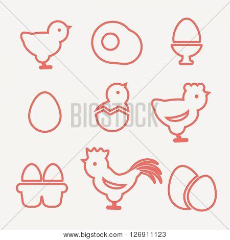 Egg icons. Egg food, breakfast egg, animal egg chicken vector