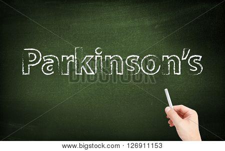 Parkinsons written on a blackboard