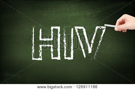 HIV written on a blackboard