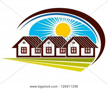 Bright illustration of country houses and sunny landscape. Village theme vector simple home.