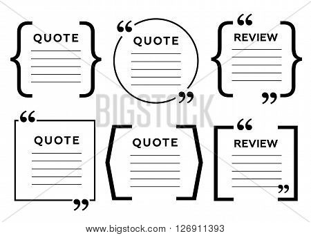 Vector quotes and brackets. Message typography, phrase and quotation eps10